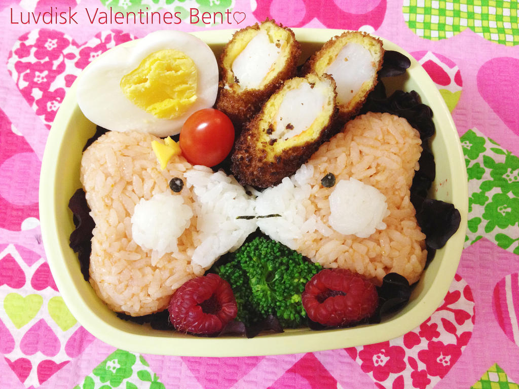 Kissing Luvdisk Valentines Bento by Demi-Plum
