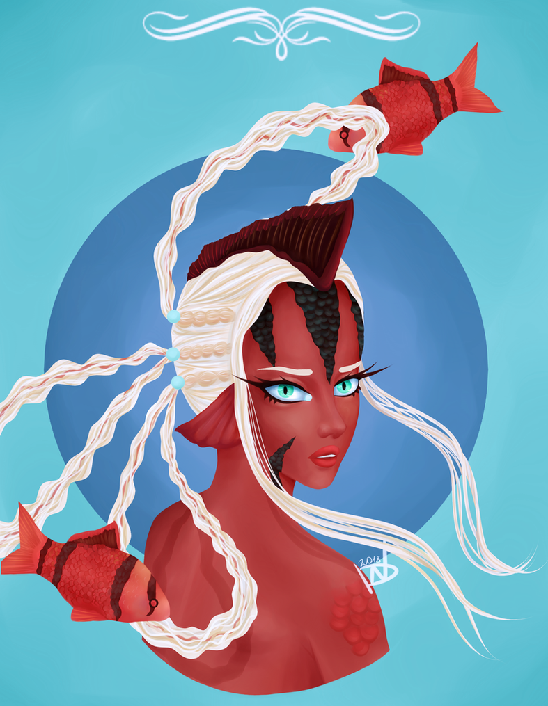 Princess of the Depth [Red Tiger Barb] by NikkiReam