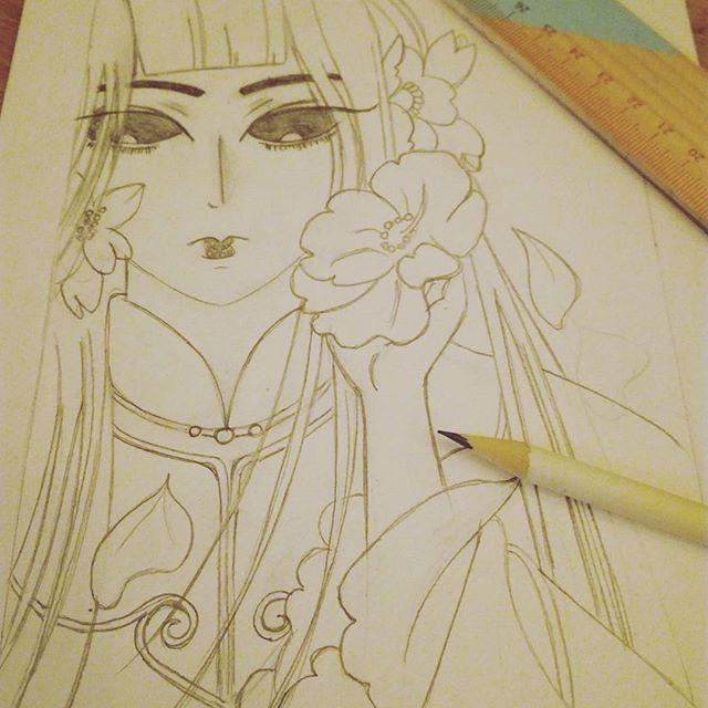 Manga geisha pencil drawing in progress by MalwinaD