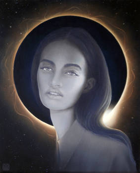 girl.solar eclipse