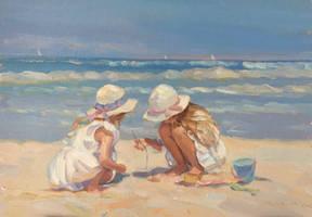 Girls on beach by AndriyMarkiv