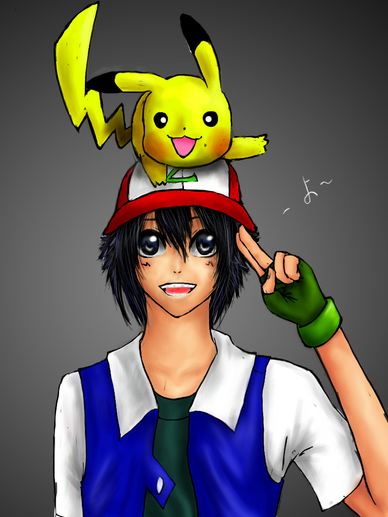 pokemon ash and pikachu by worldomonation on deviantart