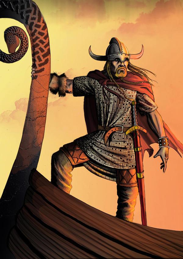 viking in drakkar by bakarov