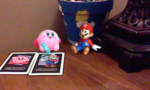 Mario and Kirby on my desk