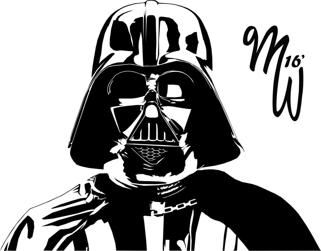 Darth vader vector by milliewright on deviantart for Darth vader black and white