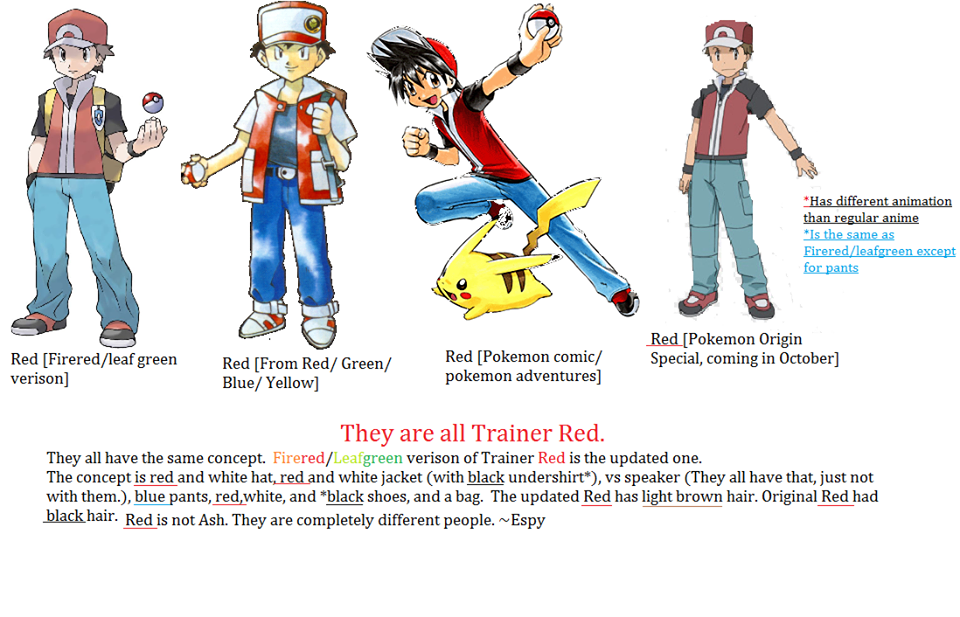 The Different Version S Of Pokemon Trainer Red By Marisamicma57 On Deviantart