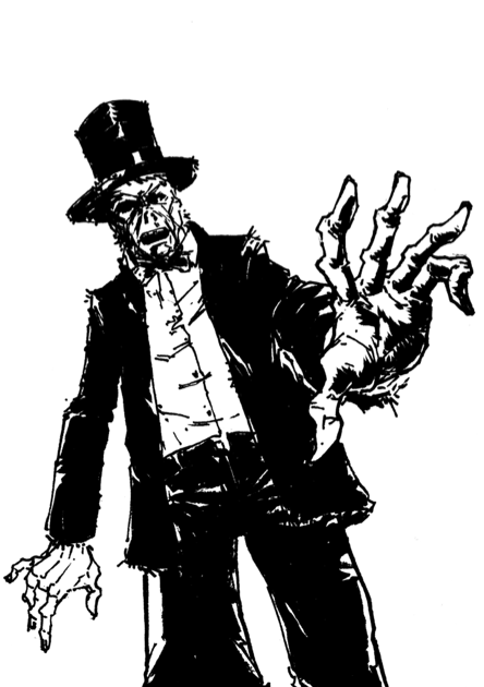 Top hat zombie black and white by hyprvirus