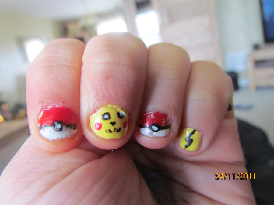 Pikachu Acrylic Nails Electric-pikachu Nails by