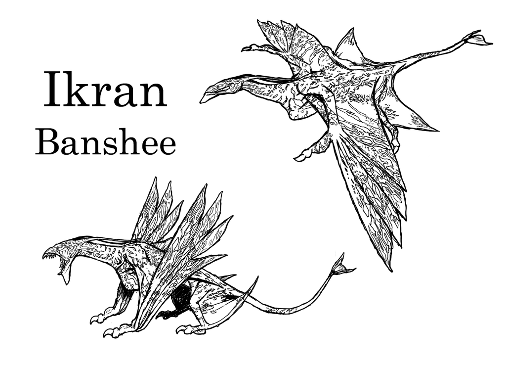 Avatar ikran aka banshee by laserbot on deviantart for Avatar coloring pages