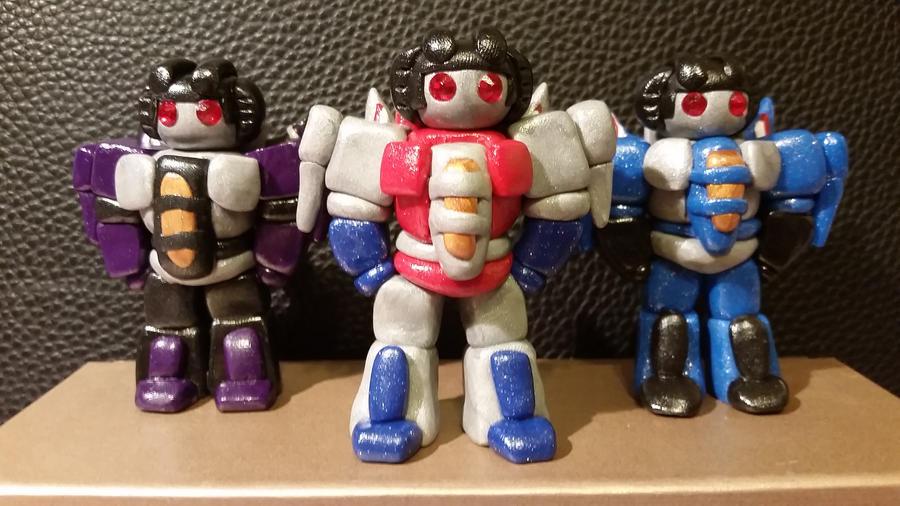 Chibi Chubs: Starscream, Thundercracker, Skywarp by Laserbot