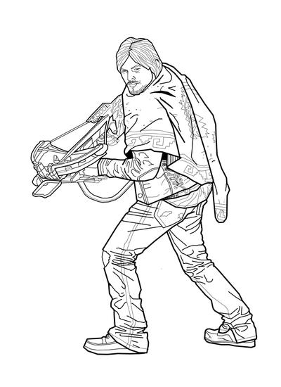 walking dead coloring pages - daryl coloring page by heroforpain on deviantart