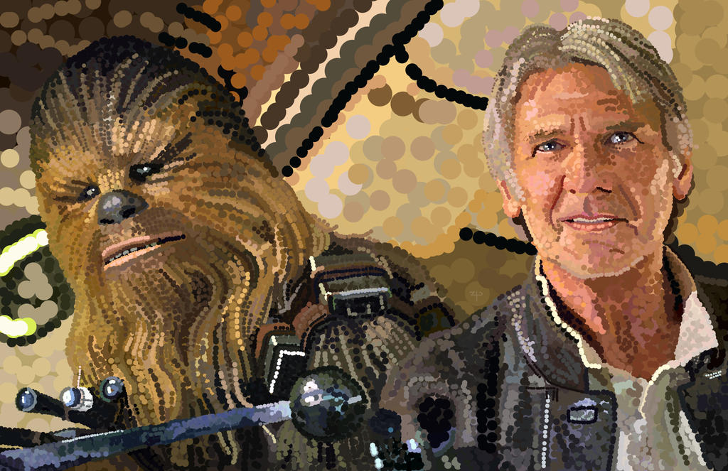 Han Solo and Chewbacca as DOTS by HeroforPain