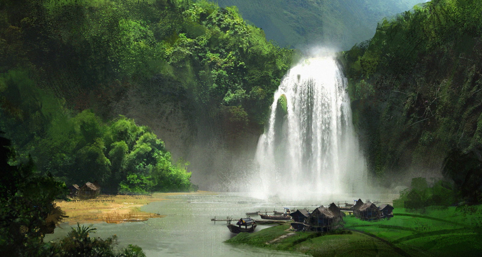 The Waterfall Village by e-mendoza