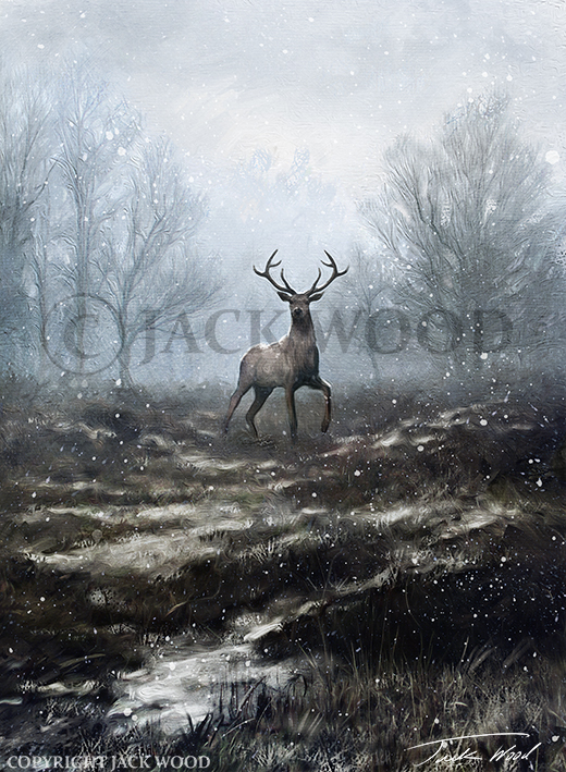 Stag in Winter Landscape by Jack-Wood