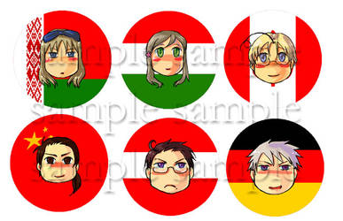 Hetalia buttons second batch by imabubble