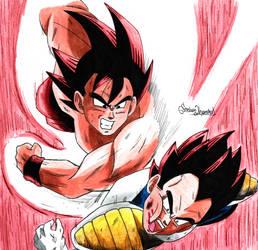 Goku vs Vegeta by E2A4
