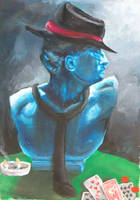 Hat Man Bust on Card Table by animatey