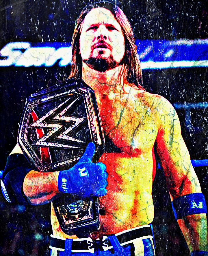 Aj Styles Wwe Champion 2018 Custom Wallpaper By Ambriegnsasylum16 On