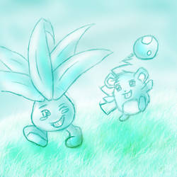 Marill and Oddish sketch by Blue-Uncia