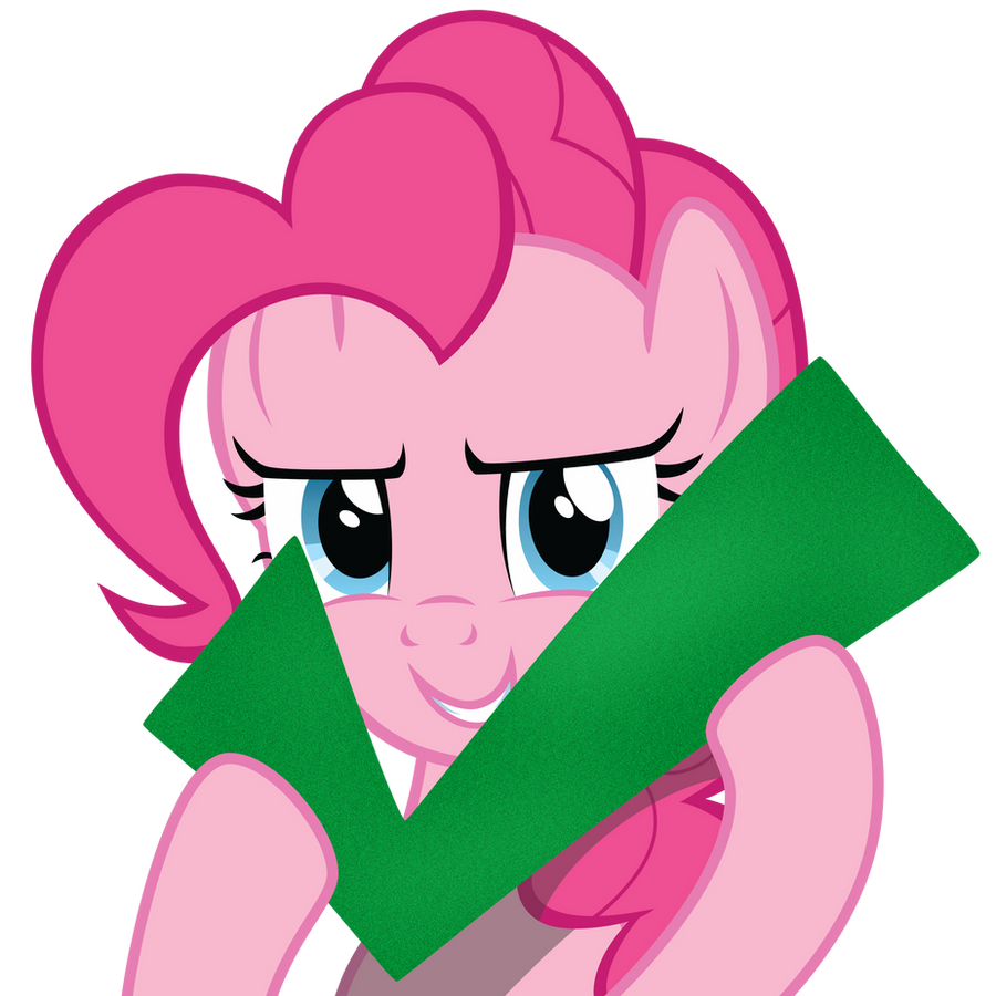 Pinkie holding a check mark