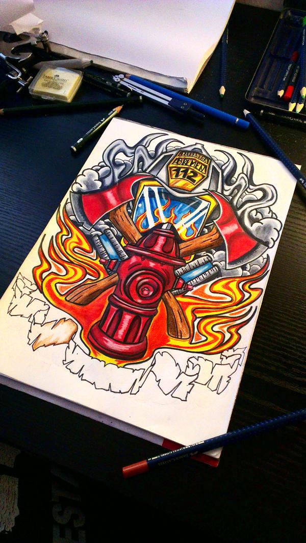 firefighter tattoo by mcrdesign on deviantart. Black Bedroom Furniture Sets. Home Design Ideas
