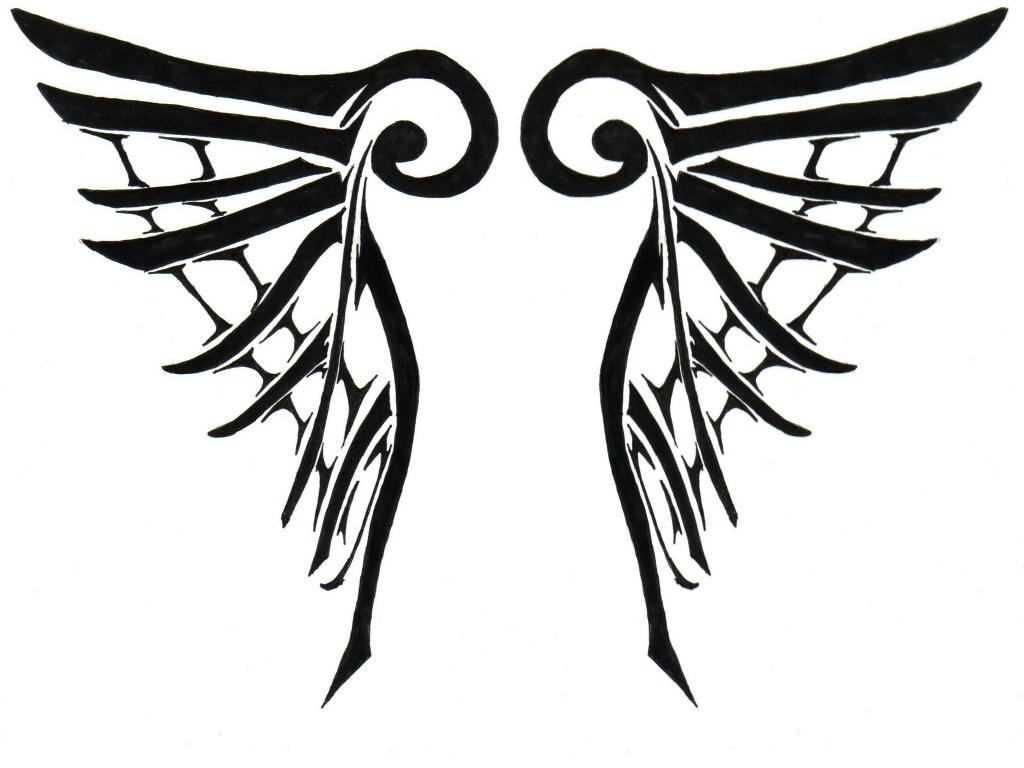 Tribal Cross With Angel Wings Tribal angel wings by pink-Tribal Cross With Tribal Wings
