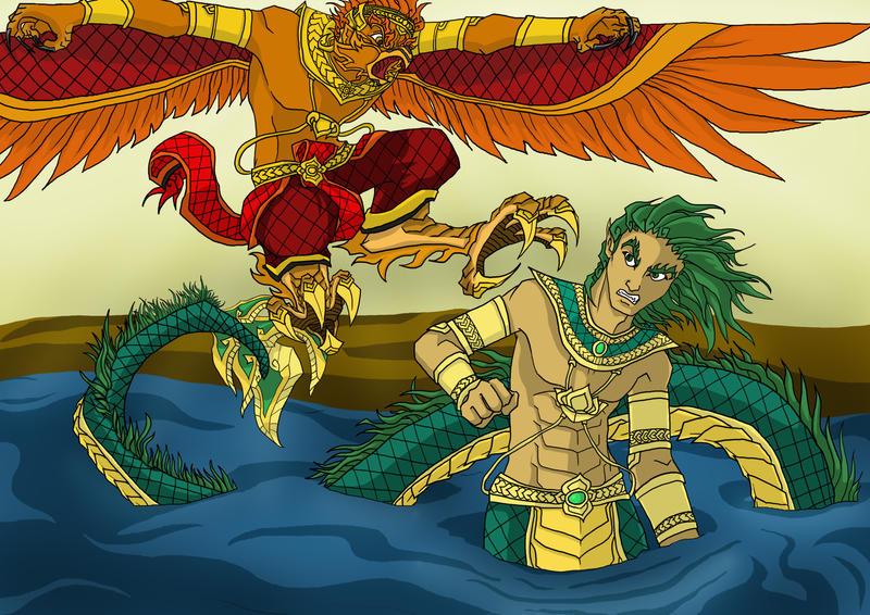 Garuda and Naga by Multifreak99