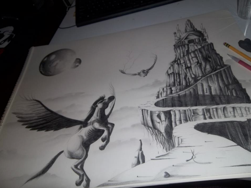 This is a photo of Delicate Mount Olympus Greek Mythology Drawing