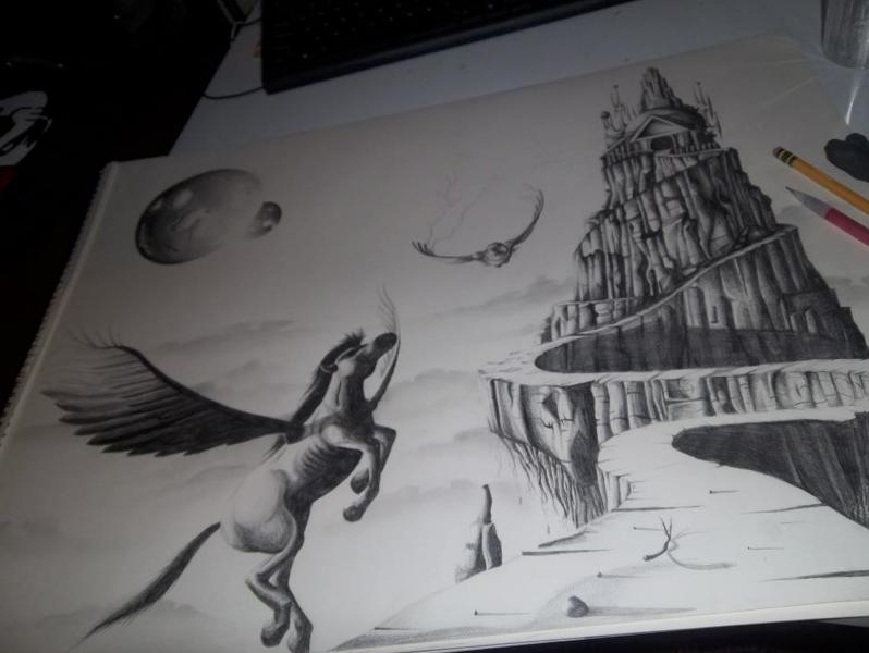 Mt. olympus gods drawing
