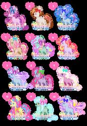Ribbon Ponies Adoptables (7, 11, 12 OPEN) by KingPhantasya