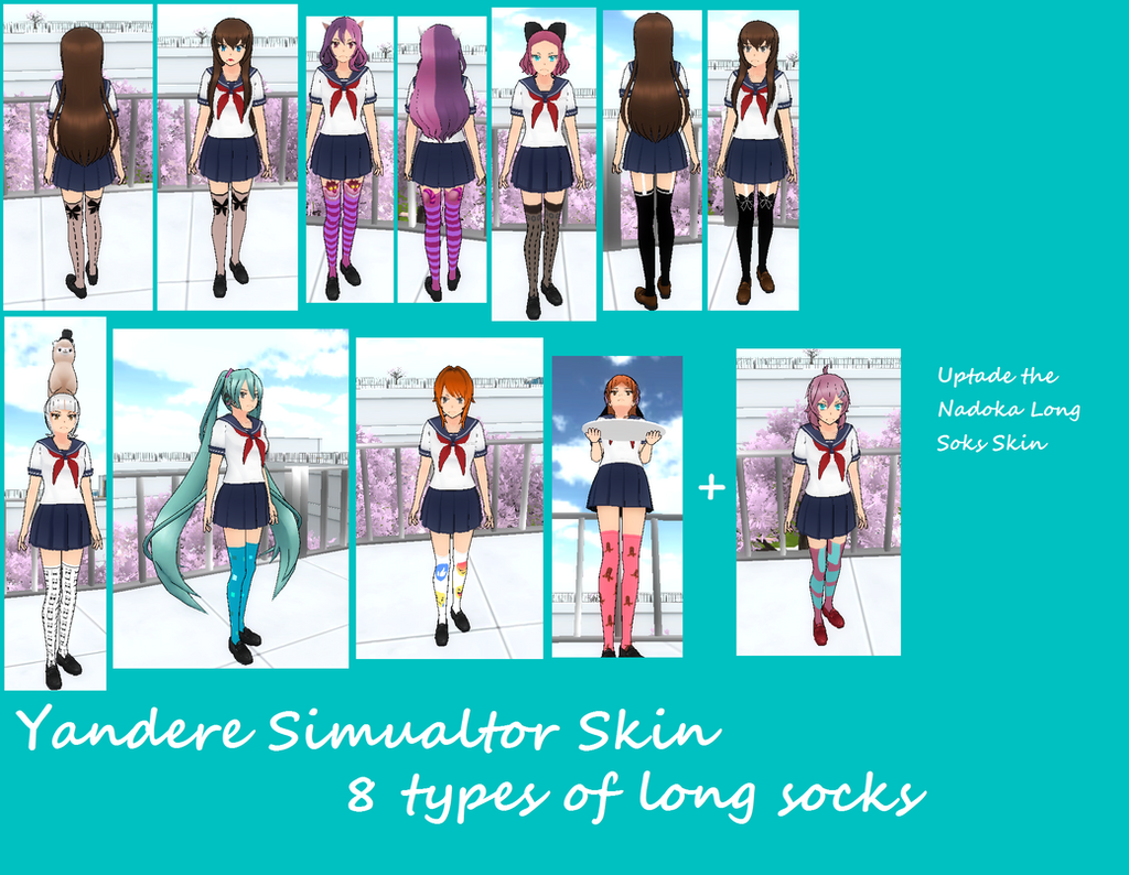 Yandere Simulator Skin : 8 types of long socks by HairBlue ...