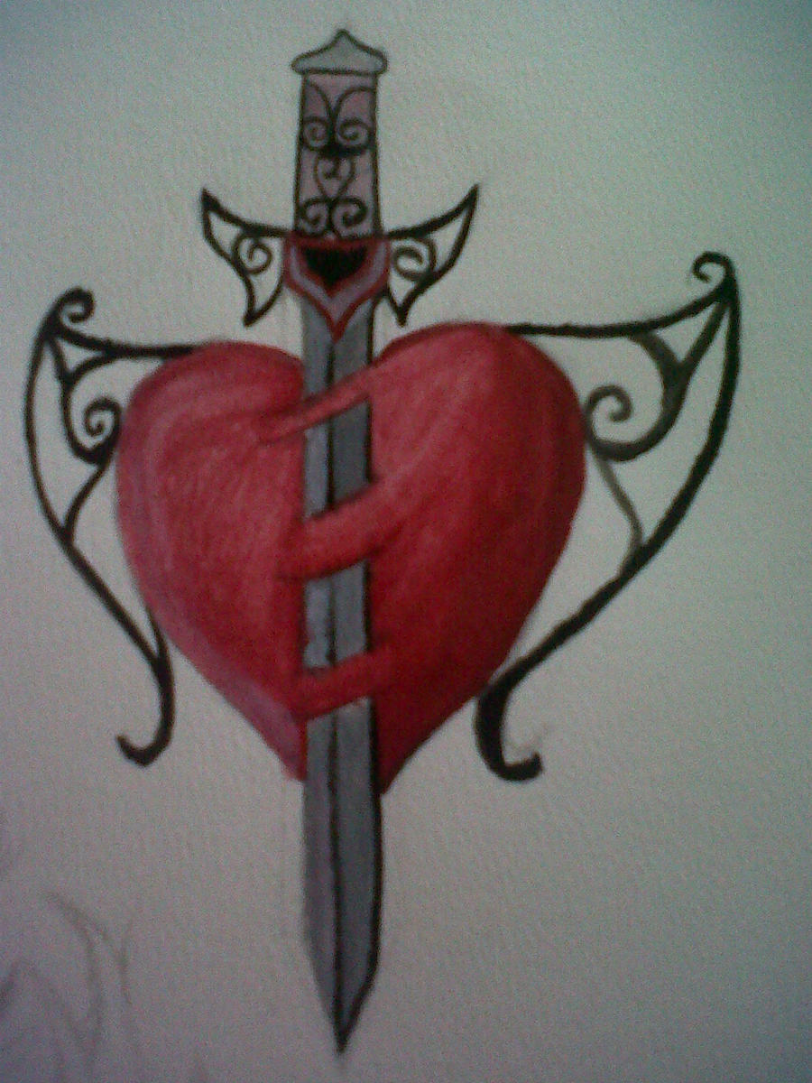 sword through heart tattoo design by broken leo on deviantart. Black Bedroom Furniture Sets. Home Design Ideas