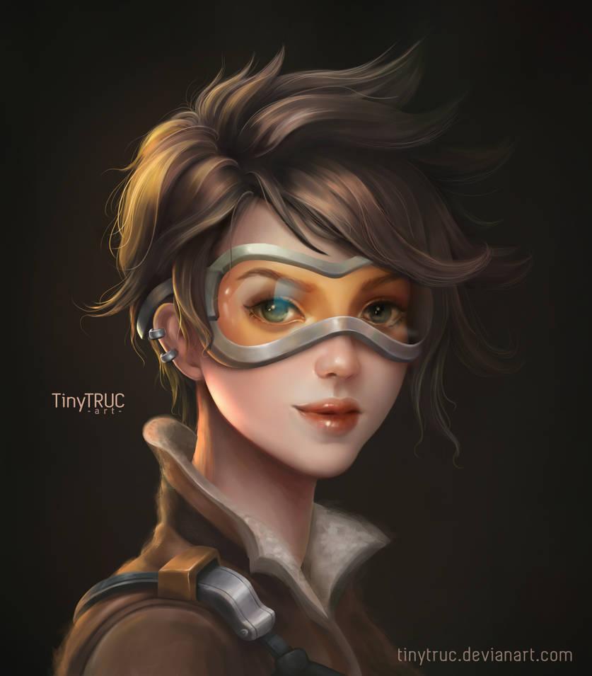 Tracer Overwatch Portrait - Fanart