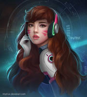 D.VA Portrait Fanart [Overwatch-Heroes Of Storm] by TinyTruc