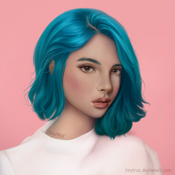 Portrait Girl - Blue Hair by TinyTruc