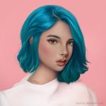 Portrait Girl - Blue Hair