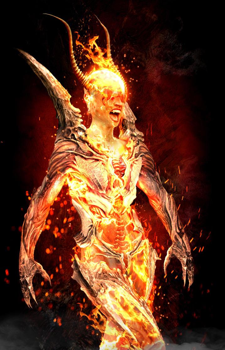 Flame Atronach (skyrim) by Dragon-Kiss