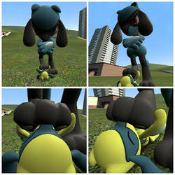 Sniffing Riolu's paws (1) by JMLB666