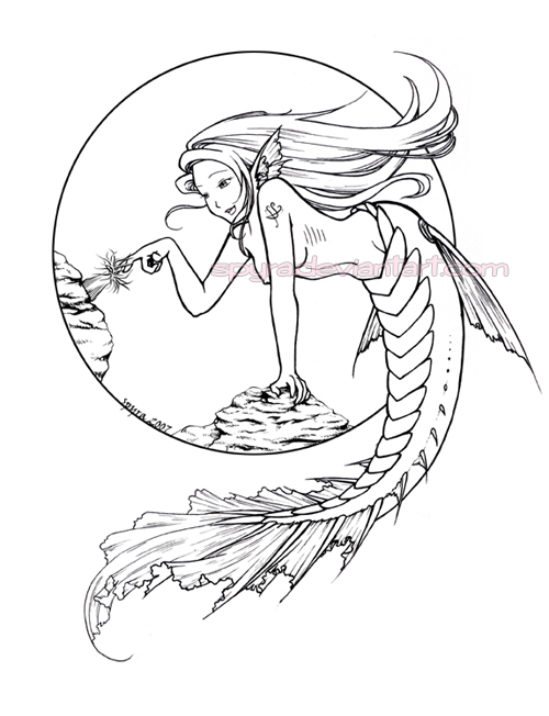 Line Art Mermaid : Mermaid in reef lineart by spyra on deviantart