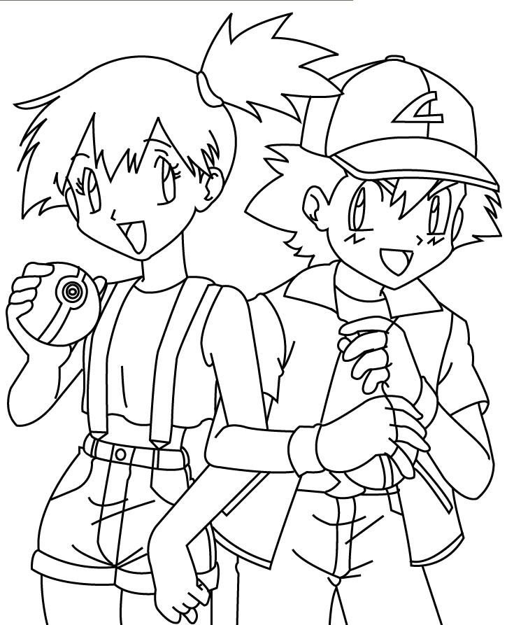 ash misty coloring pages - photo#5