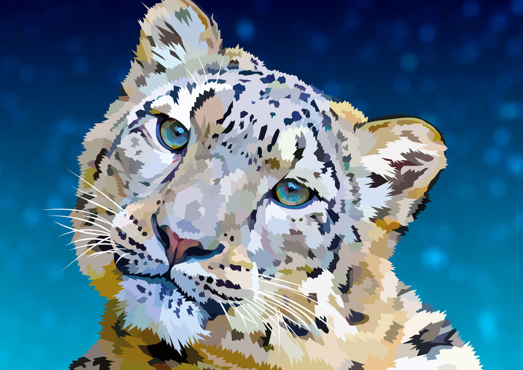 Can we be friends? - Snow Leopard vector