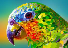 Rainbow parrot closeup by elviraNL
