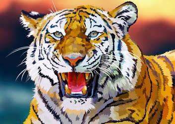 Roaring Tiger - Vector by elviraNL
