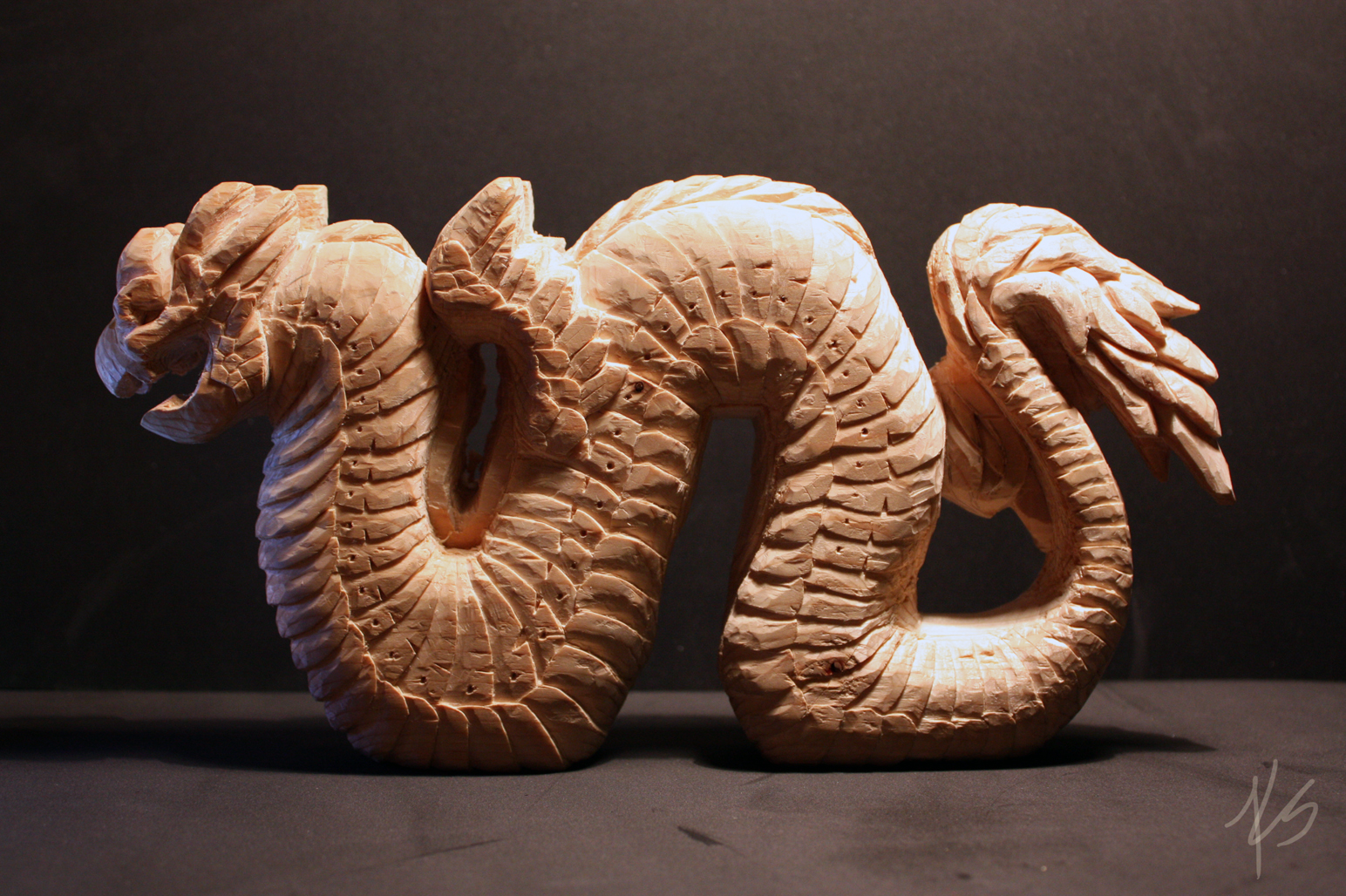 Carved Wooden Serpent by DargonXKS