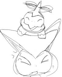 Victini's not pleased by Turtletwig