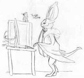 Noivern on a computer by Turtletwig