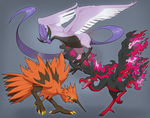 Galarian Articuno, Zapdos, Moltres by Velkss