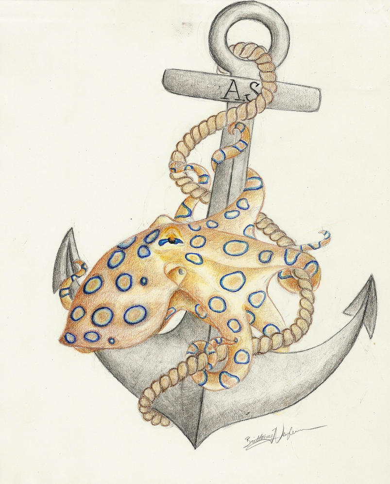 Anchor Octopus Drawing Anchor And Octopus Tattoo Itd