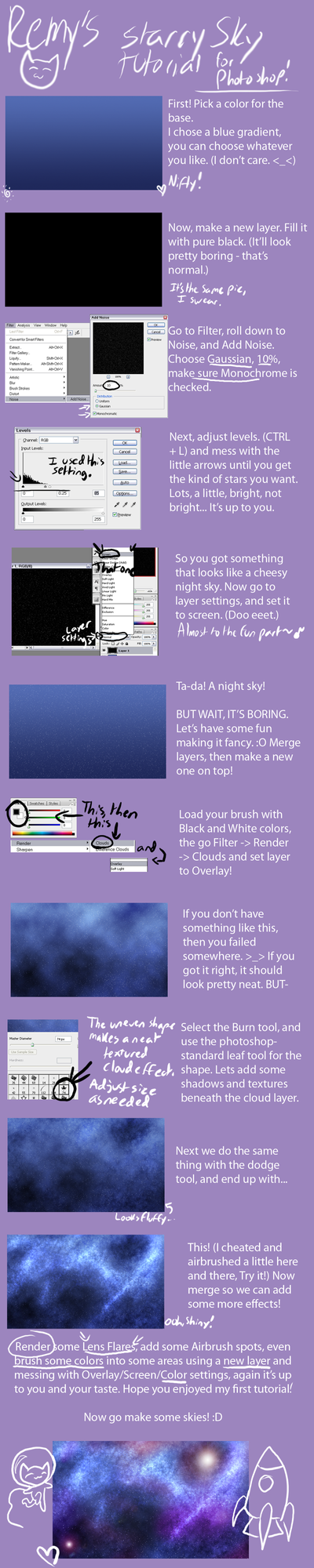 Starry Sky Tutorial by Remy-cake