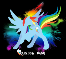 Rainbow Dash Silhouette T-shirt Design by jewlecho